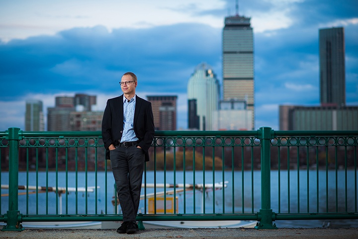 Rich Nielsen in front of Charles River and Boston in the background