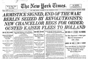 NYTimes Armistice headline, 1918