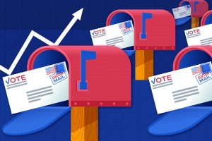 Graphic of ballots in mailboxes