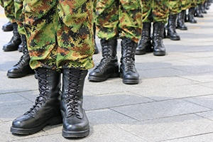 Military troops standing in line